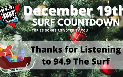 Surf Countdown – December 19th Chart